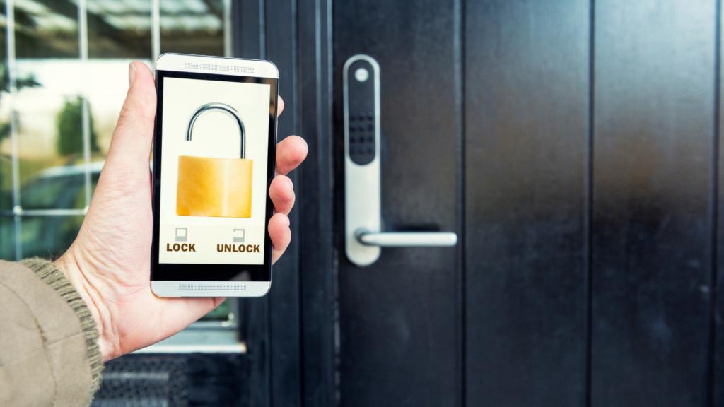 smart door lock being unlocked from phone